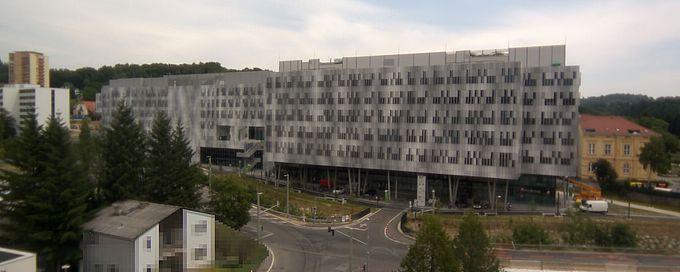 Livebild Webcam 'Gesamtpanorama Westseite' Baustelle Neubau 'Zentrum für Wissens- und Technologietransfer in der Medizin GmbH' Graz (Standbild)